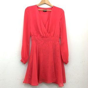 bebe long sleeve deep v lace underlay dress red 4